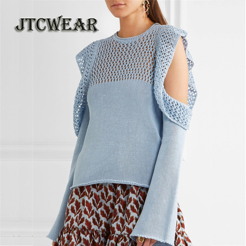 JTCWEAR 2017 Autumn Winter Hollow Out Neckline Lady Sweater Flare Long Sleeve Open Cold Shoulder New Design Pullover Jumper 485