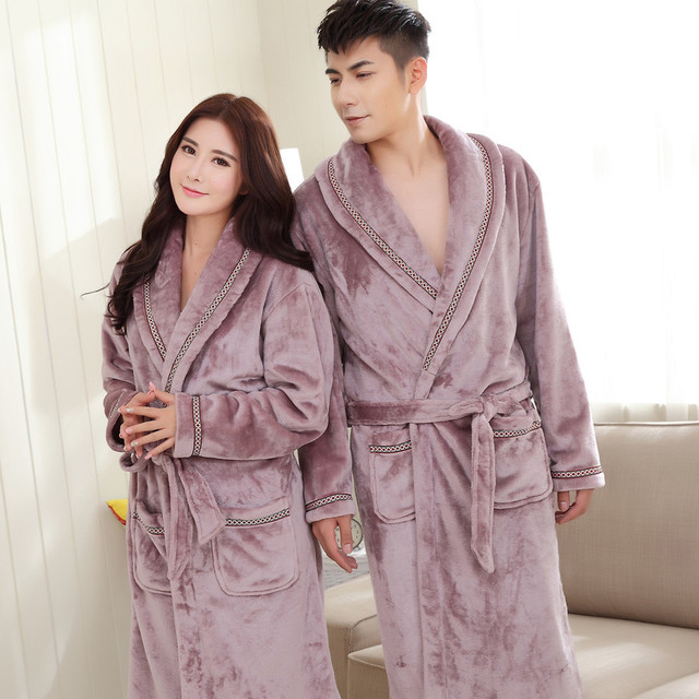 Long sleeves winter couples robes sexy leopard