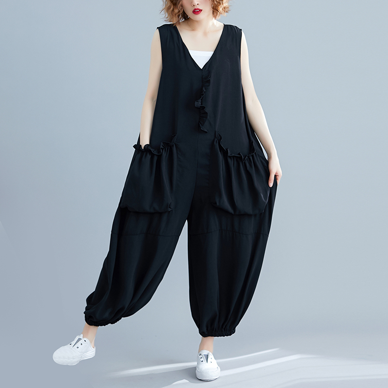 Womenv neck Sleeveless Playsuit Bodysuit Casual Loose Overall Jumpsuit Strap Romper Ankle Length Pants in Jumpsuits from Women 39 s Clothing