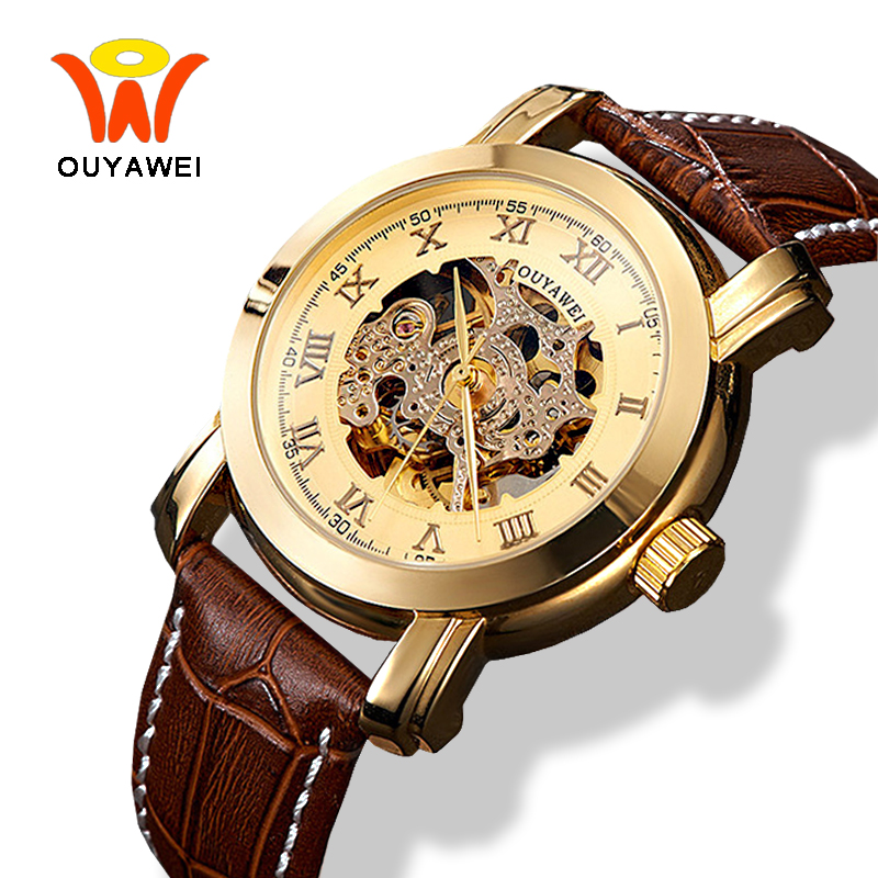 Ouyawei 2017 New Automatic Self Winding Watches Clock Men Luxury Gold Mechanical Skeleton Leather Watch montre automatique homme fngeen automatic watches waterproof leather rose gold mechanical watch men male clock luminous montre automatique homme relogio