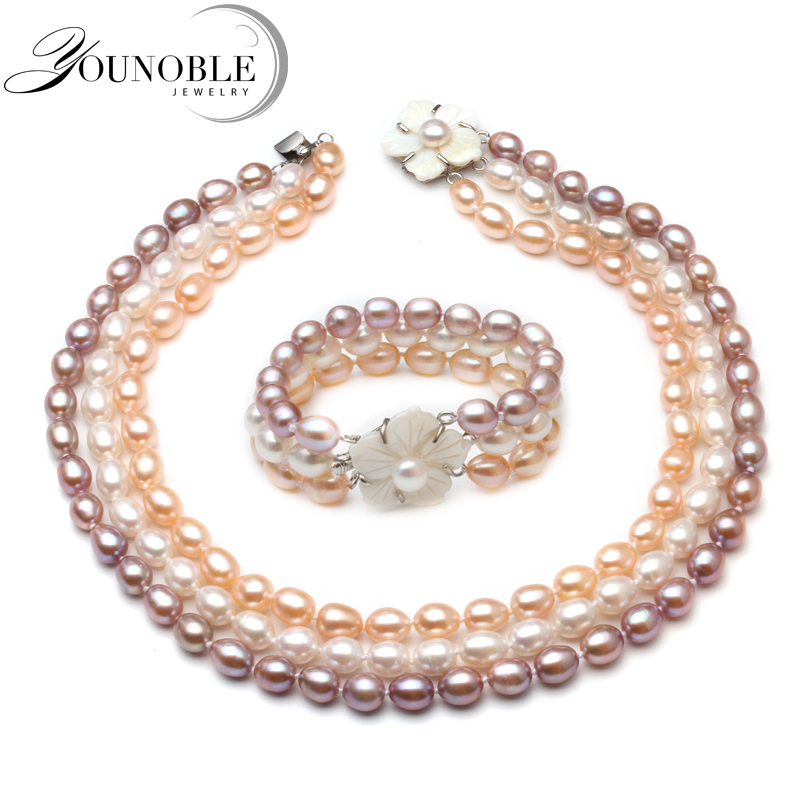 Luxury style AAA Freshwater Three Rows Pearl Necklace Real Rice Pearl necklace Bracelet Set Wedding Jewelry Fine JewelryLuxury style AAA Freshwater Three Rows Pearl Necklace Real Rice Pearl necklace Bracelet Set Wedding Jewelry Fine Jewelry