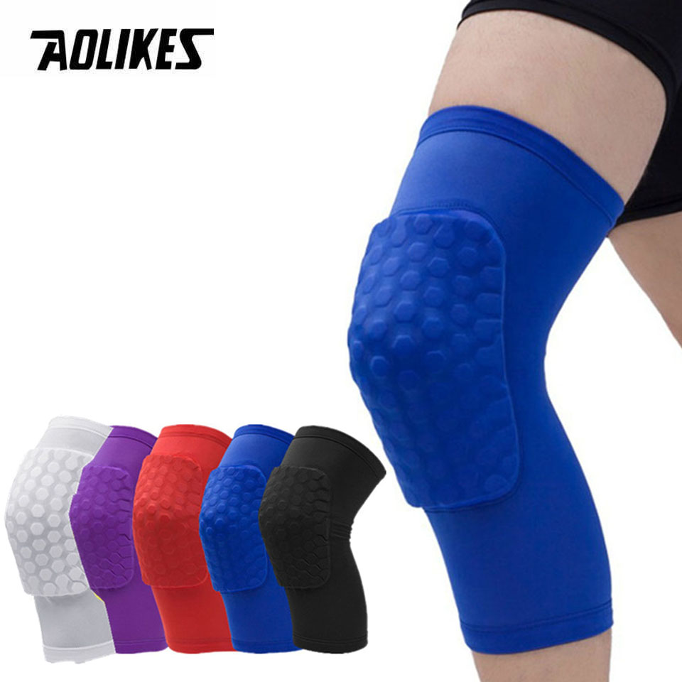 AOLIKES 1PC Honeycomb Knee Pads Basketball Sport Kneepad Volleyball Knee Protector Brace Support Football Compression Leg Sleeve
