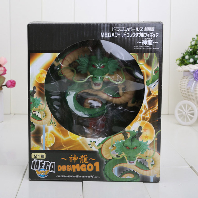 Dragon Ball Z Shenron PVC Action Figures Toys Golden Green Dragonball Z Crystal Balls + Shelf