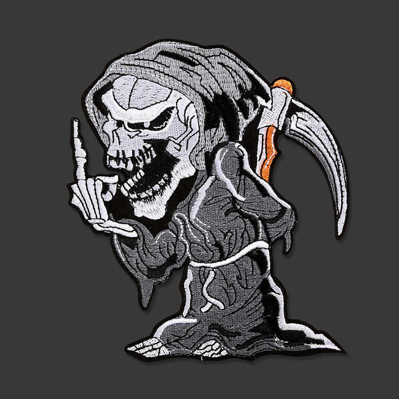Big Grim Reaper Skull Embroidered Patches for Clothing Iron on Clothes Punk patch DIY Badge Stickers Garment Appliques wholesale