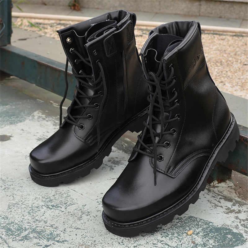 Acier orteil microfibre cuir hommes bottes militaires hommes moto équitation chasse marche chaussures concepteur désert Botas Hombre noir