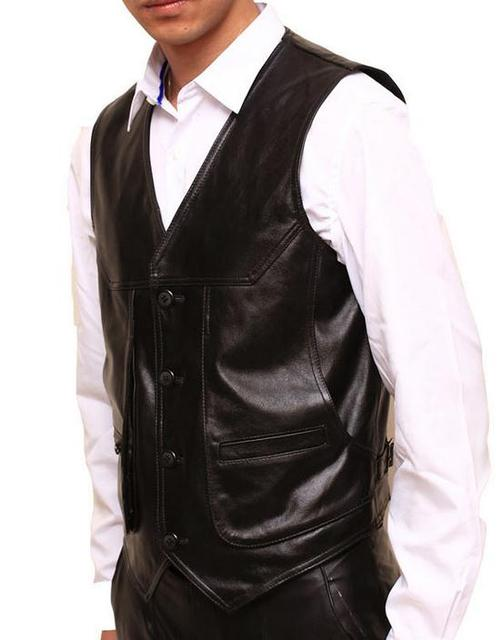 New 2015 Autumn Winter Leather Clothing Vests Genuine leather Fashion Man Slim Casual Vest outdoors Men Tops OUTERWEAR