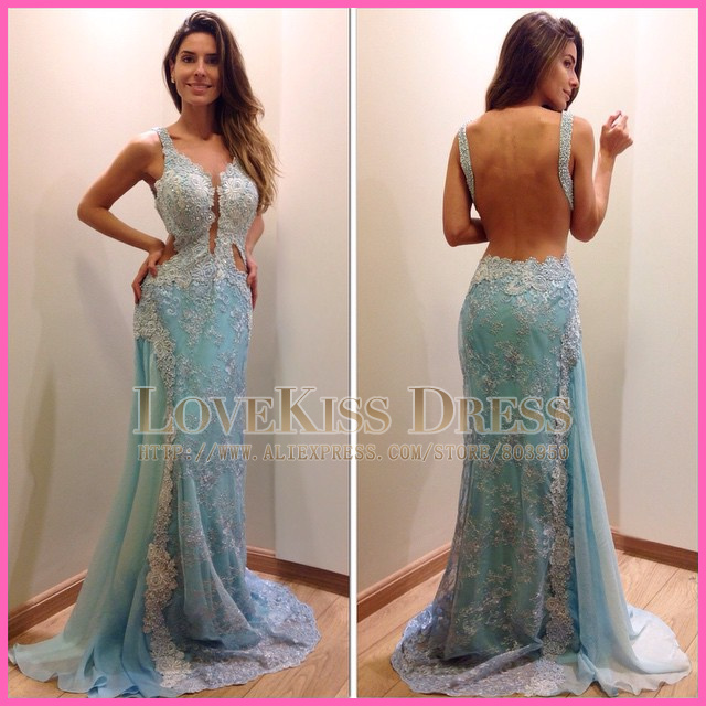 Cut out lace prom dress