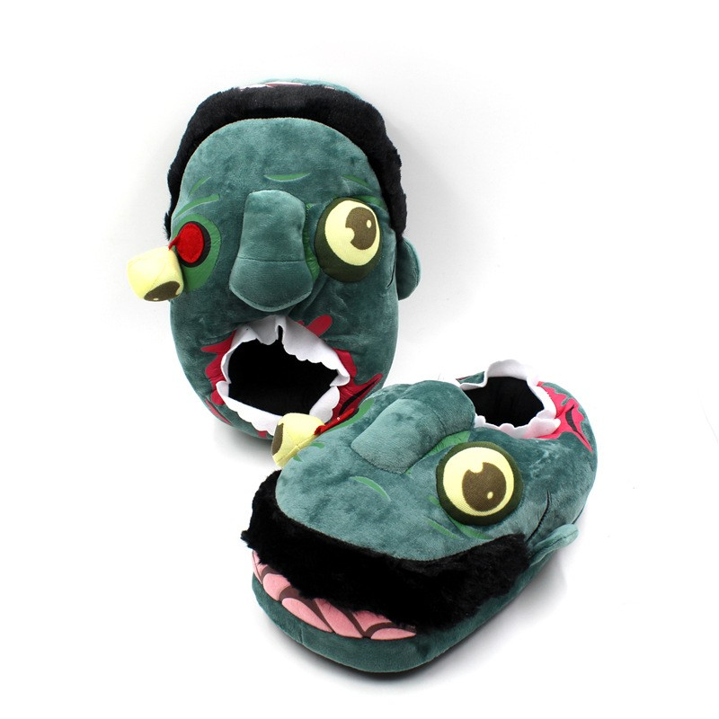 Anime The Walking Dead Zombie Figure Plush Slippers Cosplay Animals Creative Funny Home Soft Shoes PP Cotton with Heel Pantufas (1)