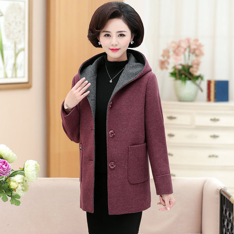 Winter Woman Tweed Hooded Coat Thicken Quilted Overcoat Female Red Green Wool Blends Pea Coats Women Warm Hood Woollen Outerwear Multan