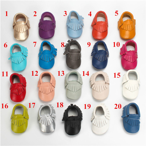 Free Express Sending 50 pairs genuine leather baby moccasins newborn shoes toddler infant footware baby boys girls moccasins