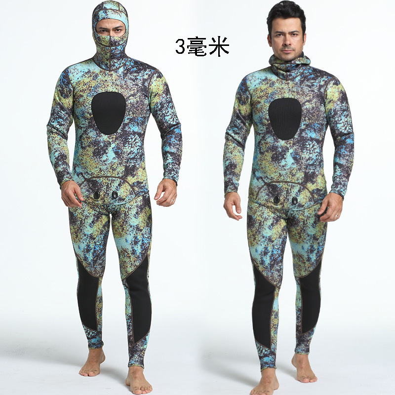 Camouflage Two-piece Set Neoprene Camouflage Diving Suit Sun-proof and Warm Surfing Suit for Men Diving Wet Suit with Hood