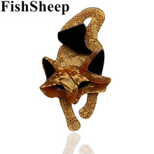FishSheep Lovely New Acrylic Fox Brooches For Women Fashion Acetate Fiber Animal Brooch Pins Broches Jewelry Female Accessories