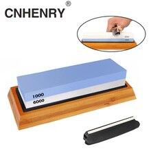Apontador de faca pedra dupla face grit pedra de amolar para cozinha afiar ferramenta base de bambu ângulo guide1000/6000