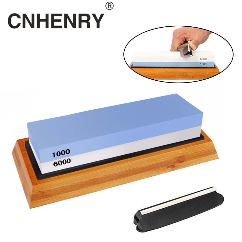 Knife Sharpener Stone Double Side Grit Whetstone For Kitchen Sharpening Tool Bamboo Base Sharpener Angle Guide1000/6000