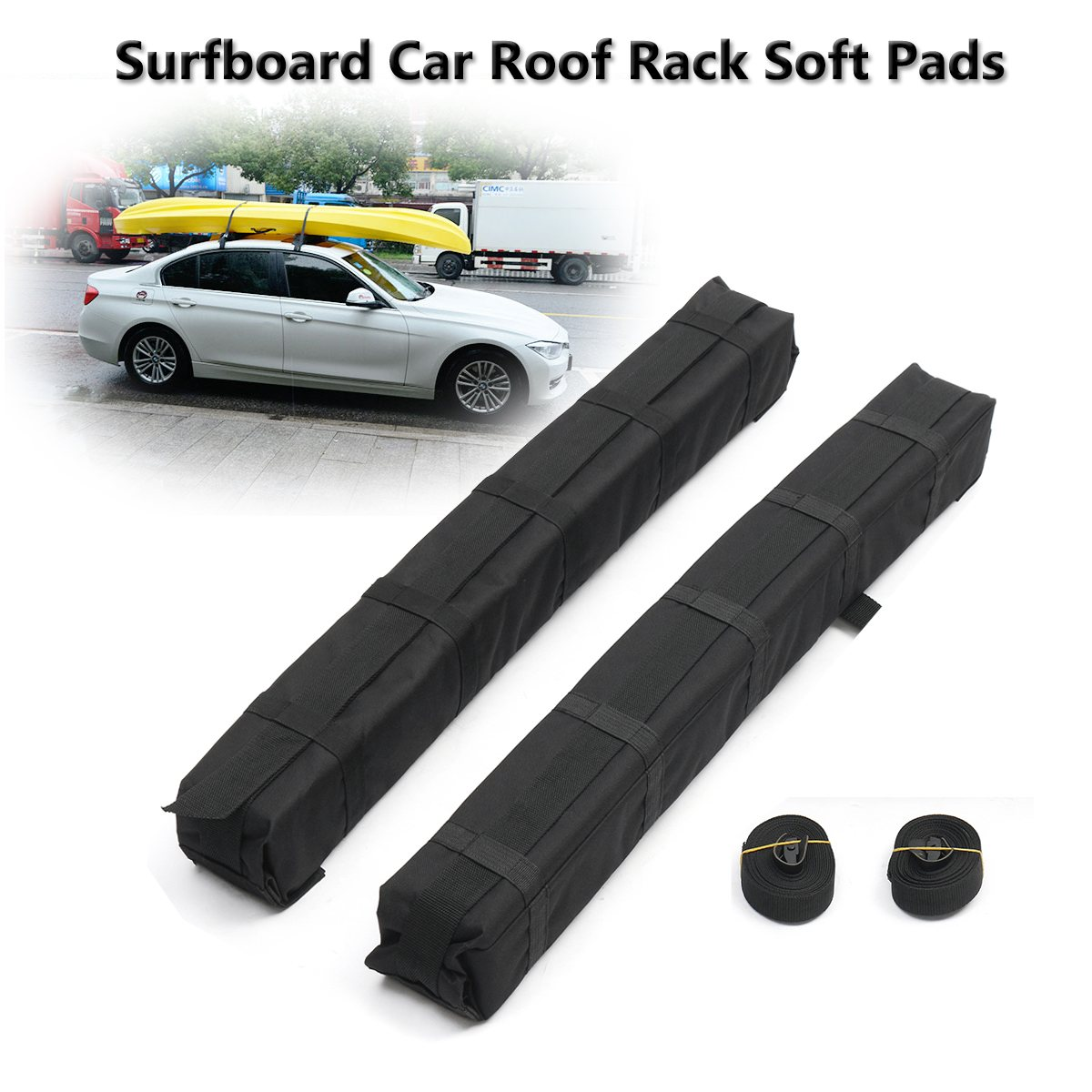 2 uds unids. Universal Auto Soft Car Roof Rack Cross Bar Kayaks Surfboard Car Roof Rack EVA Soft Pads Outdoor Travel equipaje Carrier Bar