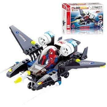112 шт. Человек-паук здание истребителя блоки Legoings самолет дети просветить игрушки Строительные кирпичи дети подарки на день рождения