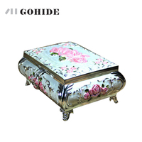 GUHD Enamel alloy wound up jewelry box music box Luxury gift box Manual music box birthday gift with free delivery