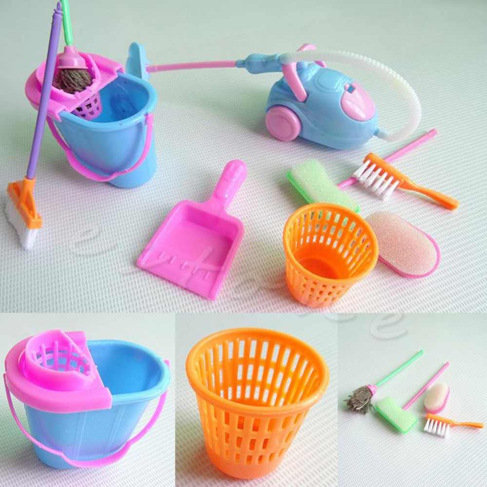 9Pcs Creative Mini Home Furniture Furnishing Cleaning Cleaner Kit For Doll Houses