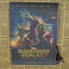 "USA Vintage Kraft Paper Poster ""Guardians of the Galaxy "" Wall Art Crafts Sticker for home decor bar coffee room HB-020(China)"