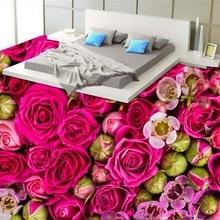[Самоклеящаяся] 3D фиолетовая Роза цветок 2 нескользящая водонепроницаемая фото самоклеящаяся напольная Настенная Наклейка обои фрески настенная печать