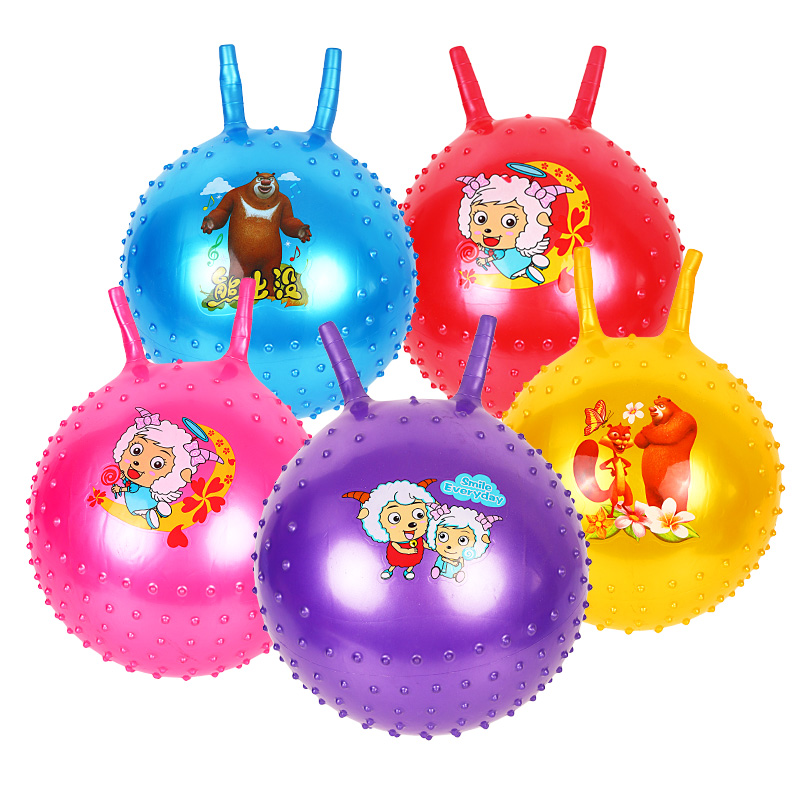 45cm Lovely bouncing ball with handle massage horn inflatable toy child cartoon animal character print baby
