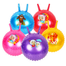 45cm Lovely bouncing ball with handle massage horn inflatable toy child cartoon animal character print baby jump play game sport
