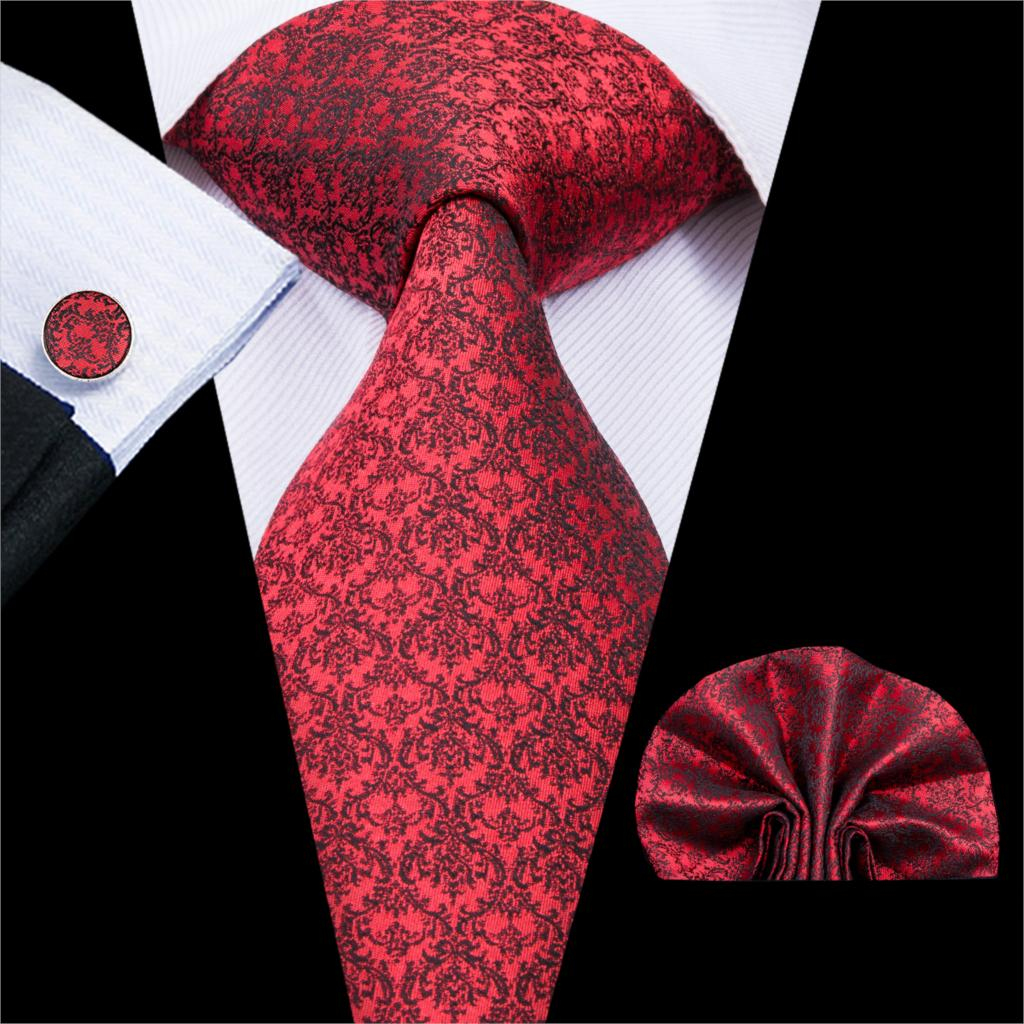 Hi-Tie Neckties For Man 100% Silk Fashion Classic Style Red Floral Pattern Ties Handkerchiefs Cufflinks Set Wedding Tie SN-3041