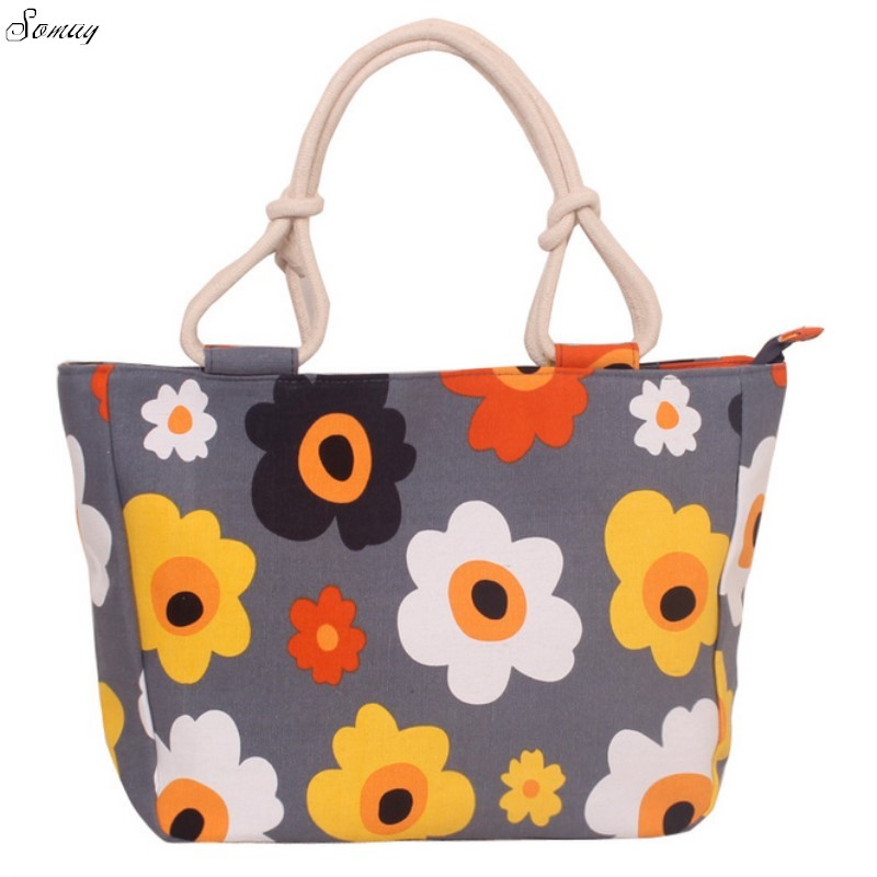 2017Summer Women Canvas Handbags floral Printing Tote Shopping Bags Large Female Beach Shoulder Bag Bolsa Feminina 100pcs /lot