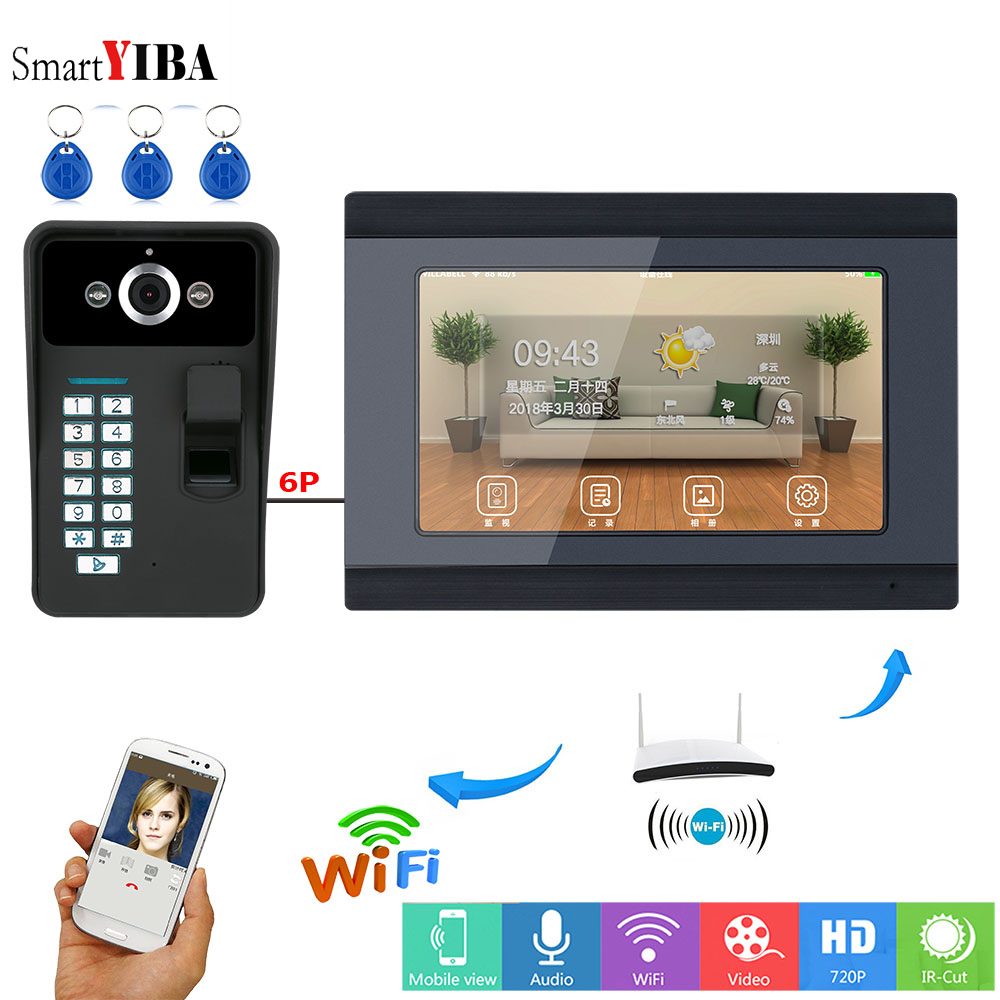 SmartYIBA Fingerprint RFID Password 7 Inch Monitor Wifi Wireless Video Door Phone Doorbell Intercom System APP Remote Control yobangsecurity wifi wireless video door phone doorbell camera system kit video door intercom with 7 inch monitor android ios app