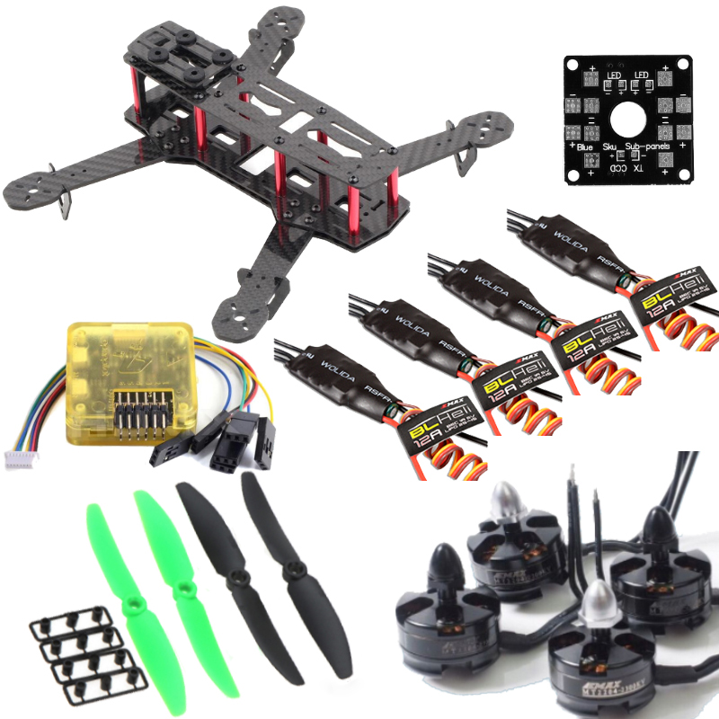 Carbon Fiber QAV250 ZMR250 Quadcopter & CC3D flight controller & Emax BLHeli 12A Esc & MT2204 2300KV Brushless Motor & 5030 Prop rcmall for qav250 250mm quadcopter pure carbon fiber frame arf cc3d flight controller emax motor simonk 12a esc diy kit dr0717
