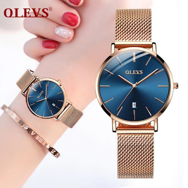 Ultra thin Ladies Watch Waterproof Rose Gold Stainless Steel Quartz Calendar Wrist Watch 6
