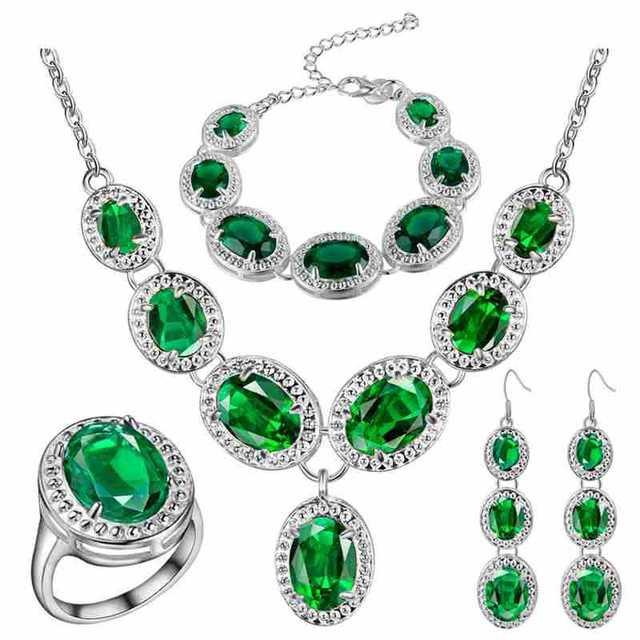 VINNAGO Women Wedding Jewelry Set Silver Green Red Blue Crystal Bracelet Earrings Ring Necklace Jewelry Set