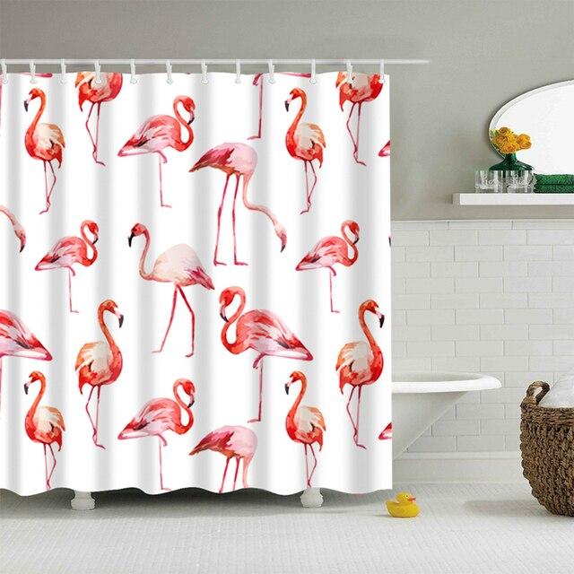 Cartoon Flamingo/Cat/Dog/Elephant Pattern Waterproof Shower Curtains Polyester High Quality Washable Bath Decor 150*180 &180*180