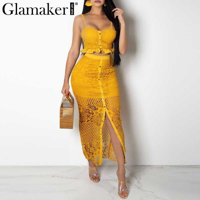 Glamaker выдалбливают Сексуальное желтое длинное платье женское белое гофрированное из двух частей облегающее Макси платье Сплит кружевное осеннее вечернее платье элегантное