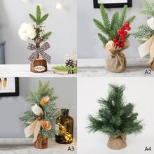 b0b3d0c78e2 Mini árbol de Navidad hogar Decoración de escritorio Mini ornamento de  Navidad con Base de madera