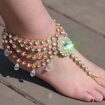 Beach Water Drop Crystal Pendant Sandals
