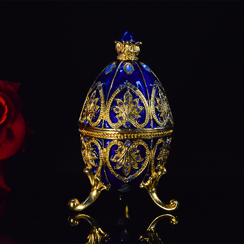 QIFU Handicraft Beautiful Blue Faberge Egg Jewellery For Box