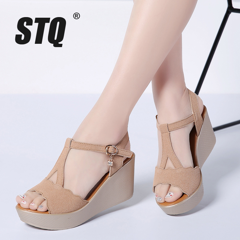 STQ Platform Sandals Wedges Heel Flat Thick PU Gladiator 1801 Original