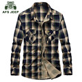 AFS JEEP 2016 Autumn men's good quality 100% cotton fashion casual brand red plaid long sleeve shirt man spring grid shirts A677