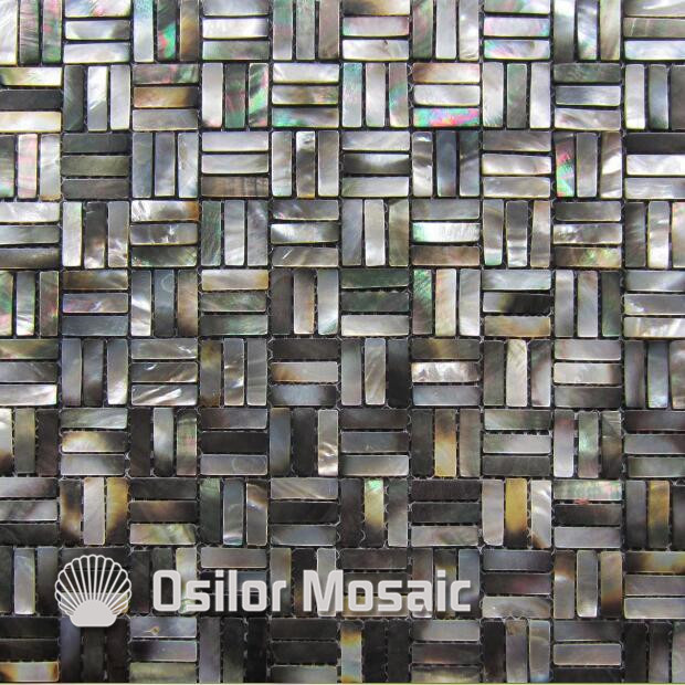 Natural black color 100% sea shell black mother of pearl mosaic tile for home decoration wall tile brick pattern 100% blacklip sea shell natural black color mother of pearl mosaic tile for interior house decoration wall tiles