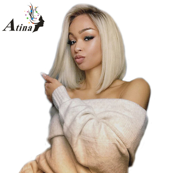 4/613 Dark Roots Blonde Short Bob Lace Front Human Hair Wigs Pre Plucked 150% Density Remy Ombre Lace Wig with Baby Hair Atina