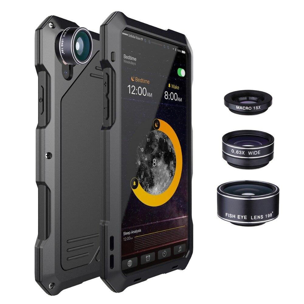 Boîtier métallique Pour Iphone 7 Antichoc Étanche Smartphone Couverture Mobile Téléphone Étui de protection 3 Camera Lens Pour IPhone X 6 6 S Plus