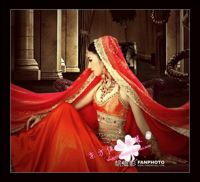 women's costume sari red yarn sail costume Indian sari or saree costume dance clothing photography