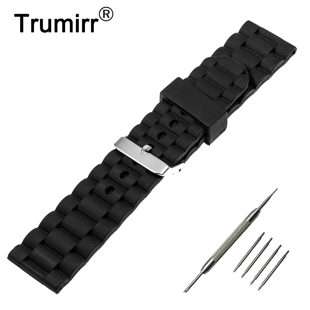 21mm 22mm 23mm 24mm Silicone Rubber Watch Band Stainless Steel Pin Buckle Strap for Armani Watchband Wrist Belt Bracelet Black silicone rubber watch band 21mm 22mm for timex weekender expedition quick release strap stainless steel buckle wrist bracelet