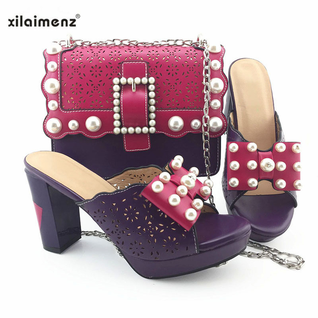 2019 New Coming Office Lady Fuchsia Italian Designer Shoes And Bag Set To Match Nigerian Party Shoes With Matching Bags Set