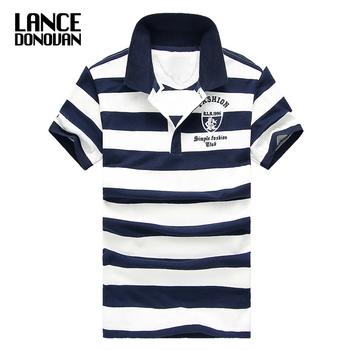 Męska klasyczna koszulka polo w paski bawełniana z krótkim rękawem nowa dostawa 2019 lato Plus rozmiar M-XXXXL tanie i dobre opinie Lance Donovan REGULAR Embroidery Striped Anglia styl COTTON Plus size Gradient