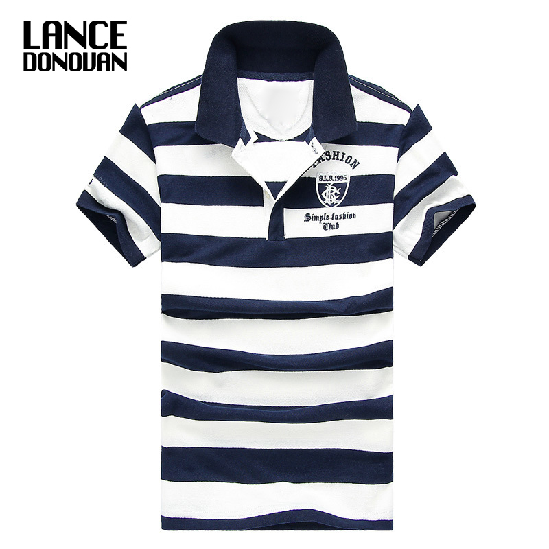 Men Classic Striped Polo Shirt Cotton Short Sleeve NEW Arrived 2019 Summer Plus Size M-XXXXL