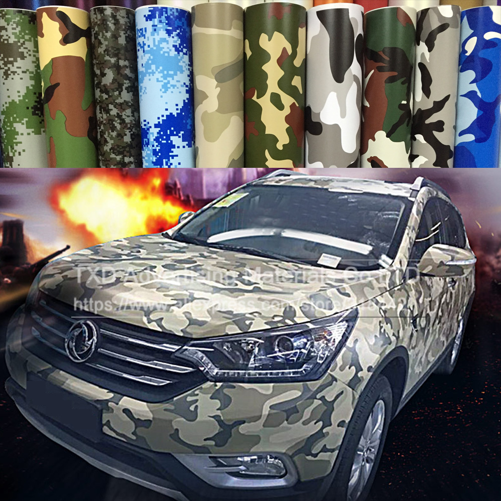 Sticker design for car online - Hot Selling Premium Camo Car Sticker Vinyls Pvc Motorcycle Carbon Fiber Sticker Army Military Camo Camouflage