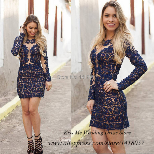 0e37b427a Moda feminina azul marinho Curto Vestido manga comprida Lace Prom vestidos  Sexy Vestido de Renda Curto