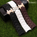 20MM 23MM Black White Brown Mens Full Stainless Steel+Rubber Watchband Watch Strap Bracelet For Armani AR5920/AR5906/AR5905